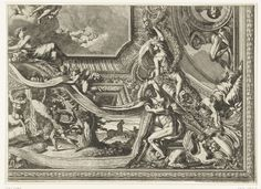 Jean Lepautre | Plafond met cartouche in vorm van wandtapijt, Jean Lepautre, in or after 1661 - before 1666 | Op de cartouche strijdt een Lapith tegen een Centaur. Plafond met varianten voor twee kwart gedeeltes van de rand. Blad 3 uit serie van 6 bladen met ontwerpen voor plafonds, sommige met varianten voor de randen. Uit tweede editie.