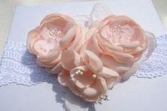 Peachy Pink flower headband http://www.etsy.com/shop/LudasPreciousDesigns