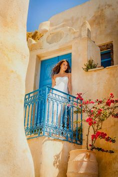 Juliet on the balcony. Colours of Pyrgos, Santorini island, Greece. - Selected by www.oiamansion.com