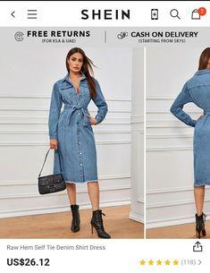 Raw Hem Self Tie Denim Shirt Dress ❤🥰💋  Use promocode: 🔺️SADCA15 to get extra 15% discount