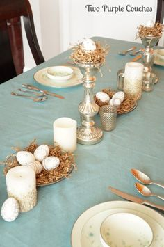 Instead of eggs I could use twine balls and metallic fillers to create a tablescape