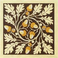 Vintage Acorns And Oak Leaves Hand Painted Canvases Melissa Shirley Designs - Needlepoint Supplies Wool Applique, Applique Quilts, Acorn And Oak, Tree Quilt, Oak Leaves, Oak Tree, Quilting Designs, Fiber Art, Leaf Design