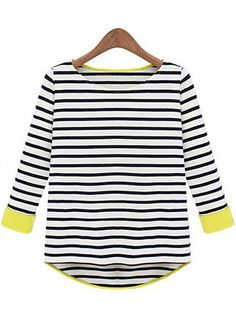 Cute Three Quarter Sleeve Round Collar Striped Tees | Rosewe.com