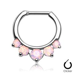 Septum Clicker Opalites Pink Nose Jewelry Surgical Stainless Steel Body Jewelry…