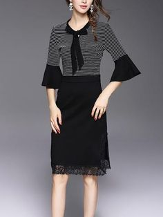 Black lace collar long sleeve knit dress