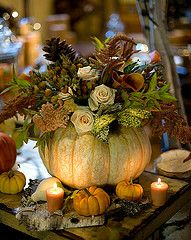 Pumpkins are perfect way to decorate your fall table – a dinner, a Halloween party or a Thanksgiving table. Here are ideas to make centerpieces of them. Fall Wedding Centerpieces, Pumpkin Centerpieces, Pumpkin Vase, Pumpkin Flower, Pumpkin Bouquet, Wedding Favors, Wedding Bouquets, Centerpiece Ideas, Gold Pumpkin