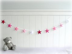 Star garland - felt star banner - You can pick your colors - pink and white - Nursery decor - birthday decor