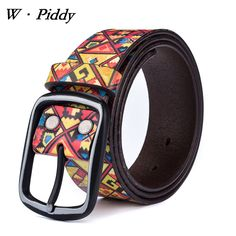 >> Click to Buy << W.PIDDY Genuine Leather Belts For Women Casual Cowskin Designer Belst Men' Luxury Leather Belt Retro Print Graffiti Jeans Cinto #Affiliate