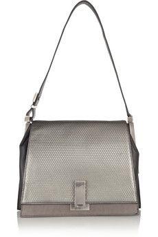 Loren embossed leather shoulder bag  by ZAC Zac Posen