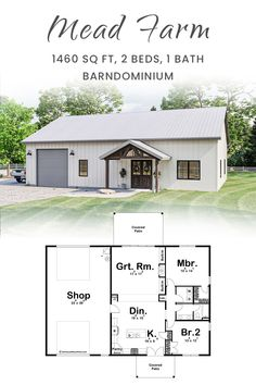 Barn Style House Plans, Metal Building House Plans, Barn Homes Floor Plans, Pole Barn House Plans, Barndominium Floor Plans, Pole Barn Homes, Shop House Plans, Small House Plans, House Floor Plans