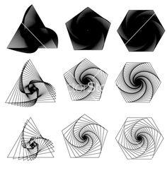 Triangle pentagon hexagon swirls vector <Cell texture concept idea >