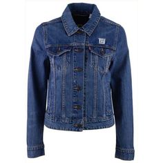 Levi's Women's New York Giants Denim Trucker Jacket ($108) ❤ liked on Polyvore featuring outerwear, jackets, denim, nfl jackets, levi jacket, blue jackets, blue denim jacket and denim trucker jacket
