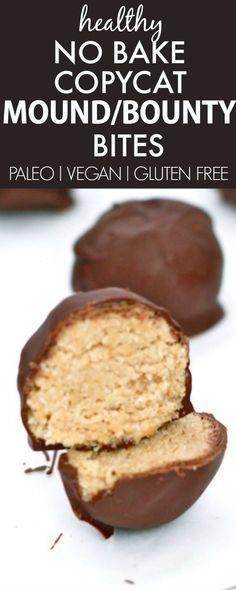 Healthy No Bake COPYCAT Mound / Bounty Bites- Delicious, easy and secretly healthy! {vegan, gluten free, paleo recipe}- thebigmansworld.com