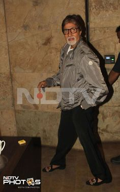 Bollywood celebrities attended a special screening of the movie D-Day in Mumbai on Thursday, July 18.   Amitabh Bachchan was at his casual best in a grey jacket teamed with a pair of casual black jeans.