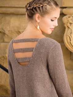 Knitting Pattern for Easy  Pullover - It's All About the Back easy long sleeved sweater in worsted weight with something a little sassy across the back. S (M, L, XL, 2XL)
