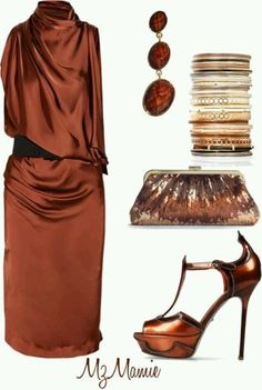 Outfit in Copper and Brown. Great with #purple