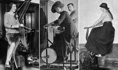 From rowing machines and exercise bikes to punchbags and horse-riding simulators, these photographs reveal the gym equipment available on famous cruise liners including the Titanic.