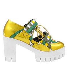 Loving this Gold Iridescent Captain Platform Sneaker on #zulily! #zulilyfinds