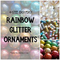 4-step easy DIY rainbow glitter ornaments for Christmas