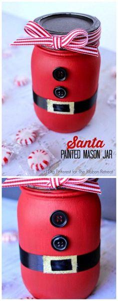 Santa Belly Painted Mason Jar