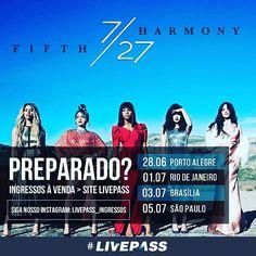 Considerado um dos maiores fenômenos pop do planeta, o quinteto anuncia seu retorno ao país para uma turnê de cinco shows, que será vista em Porto Alegre (dia 28 de junho), Curitiba (dia 29 de junho), Rio de Janeiro (01 de julho), Brasília (03 de julho) e São Paulo (05 de julho), em mais uma realização da MOVE CONCERTS. Compre agora seu ingresso no site da Livepass  #Livepass #moveconcerts #fifthharmony #love #TagsForLikes #TagsForLikesApp #TFLers #tweegram #photooftheday #amazing #smile