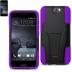 Reiko Silicon Case+Protector Cover For HTC One A9 New Type Kickstand Purple Black