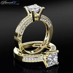 engagement ring solitaire diamond with accents 15 carat f si2 princess cut 14 karat yellow gold - Million Dollar Wedding Ring