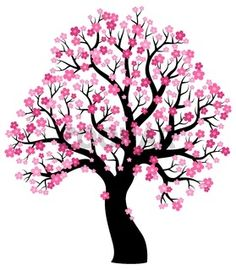 Silhouette of blooming tree theme 1 - picture illustration Cherry tree with blossoms Tree Drawing For Kids, Art Drawings For Kids, Cherry Blossom Art, Blossom Trees, Blossoms, Flower Crafts Kids, Bolo Panda, Tree Stencil, Blooming Trees