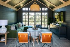 BLACKBAND DESIGN'S REVEAL OF THE DEN, POWDER + LAUNDRY ROOM AT THE FARM IN SANTA YNEZ, CA Dark Walls, White Walls, Large Windows, Windows And Doors, Seagrass Wallpaper, Tongue And Groove Walls, Traditional Home Magazine, Bonus Rooms, House And Home Magazine