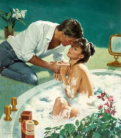 Looks like he is about to get soapy. Obviously a romance novel cover...illustrated by Robert Berran.
