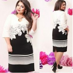 Women Sleeve Plus Size Printed OL Office Holow Floral Slim Party Dress Casual Dresses Plus Size, Dress Plus Size, Elegant Dresses, Half Sleeve Dresses, Online Dress Shopping, Party Dresses For Women, Plus Size Womens Clothing, New Dress, Dresses Online
