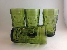 Set of 4 Indiana Glass Olive Green Kings by SheWhoPlaysWithGlass