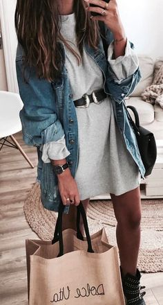 #fall #outfits women's blue denim jacket with white dress