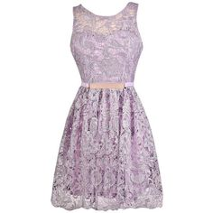 All Tied Up Tie Back Crochet Lace A-Line Dress in Lavender ❤ liked on Polyvore featuring dresses, a line dress, lace bridesmaid dresses, crochet lace dress, lacy dress and lace dress