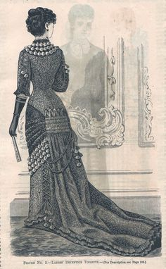 """Fashion Plate extraído de la revista """"The Delineator"""". 1880"""