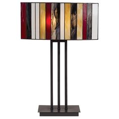 Striped Art Glass Iron Base Table Lamp