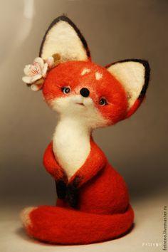 Купить Игрушка из войлока Лисичка с сакурой. - разноцветный, войлок, игрушка из шерсти лиса