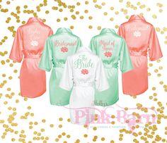 Custom Coral and Mint Bridesmaids Robes Bridal by HollysPinkBarn