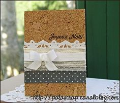card using different natural materials such as cork, cotton and paper