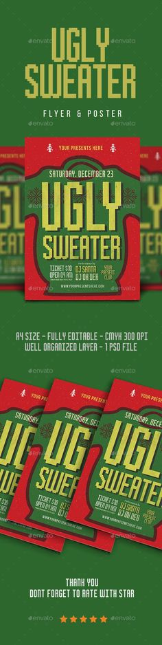 Buy Ugly Sweater Flyer by lilynthesweetpea on GraphicRiver. Ugly Sweater Flyer Hello Thank for Purchasing .This 1 Psd file set on 210 mm x 297 mm + bl. Jumper, Ugly Sweater, Sweaters, Christmas Flyer Template, Hipster, Graphic Design Print, Christmas Design, Retro, Flyer Design