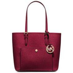 Michael Michael Kors Cherry Jet Set Item Medium Snap Pocket Tote ($198) ❤ liked on Polyvore featuring bags, handbags, tote bags, cherry, michael michael kors handbags, genuine leather tote, leather purse, red tote and travel tote bags