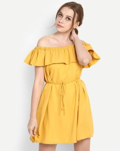 a270225f9ff Buy Mustard Brooke Ruffled Off Shoulder Skater Dress Online at StalkBuyLove