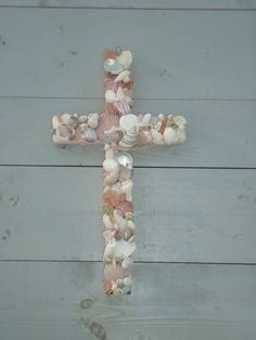 Pink Seashell Cross/Baptism/Nursery by MyHoneypickles on Etsy, $48.00