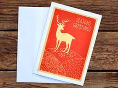 Reindeer Christmas Card - Lino Block Printed