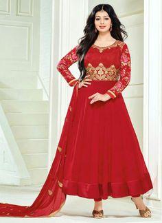 Buy salwar kameez online from an endless collection of designer bollywood salwar kameez. Grab this debonair Ayesha Takia georgette red anarkali salwar kameez for festival and party. Pakistani Salwar Kameez, Pakistani Dresses, Indian Dresses, Indian Outfits, Shalwar Kameez, Designer Salwar Suits, Designer Anarkali, Anarkali Dress, Anarkali Suits