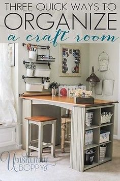 15 of the Coolest DIY Craft Room Tables Ever! Craft Room Ideas craft room table diy with 9 cube organizer - Diy Craft Table Craft Room Storage, Craft Organization, Storage Ideas, Organizing Tips, Ikea Storage, Paper Storage, Wall Storage, Craft Tables With Storage, Ribbon Storage
