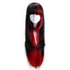 AYAMO+Black+and+Red+Long+Wavy+Synthetic+Punk+Lolita+Wig+–+USD+$+29.99 Halloween Wigs, Wigs Online, Disney Sweatshirts, Lolita Dress, Cosplay Wigs, Blue Sweaters, Colorful Fashion, Punk, Long Hair Styles