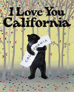 """I Love You California"" Folk Print"