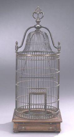 Regency style bronze dome-top birdcage.