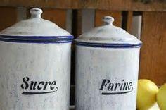 vintage art deco antique enamel blue white french kitchen canister set